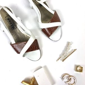 Vintage Croc Leather Strappy Wedge Sandals